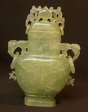 A chine brûle parfum jade taillée 1.4Kg 23cm pot vase urne couverte ancienne