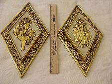 Vtg Set 2 Diamond Shaped Shiny Gold Gild Cream Syroco Plastic Wall Plaques MCM