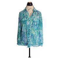Dana Buchman Blouse Top Size S Womens Button down Sheer  Long Sleeve Green Blue