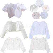 New Girls Kids Bolero Shrug Jacket Flower Girl Bridesmaid Wedding Short Cardigan