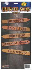 Haunted House Halloween Decoration HAUNTED SIGN SET Morgue Cemetery Asylum   2-4