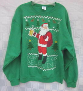 CHRISTMAS SWEATER JERZEES NUBLEND SWEATSHIRT LARGE Santa Claus with Beer Stein