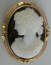 """Antique 2 Colored 14k Gold Cameo """"VICTORIAN GODDESS"""" 1890's Very Rare"""
