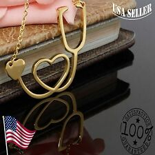 Medical Stethoscope Heart Pendant Necklace - Nurse- Doctor -Gold stainless steel