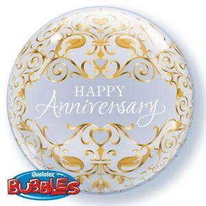 "Happy Anniversary Classic Qualatex 22"" Bubble Balloon"
