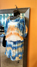 Orange, blue and white tie-dyed dress