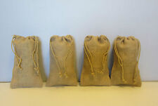 "4 BURLAP JUTE SACKS WITH DRAWSTRINGS 6"" BY 10"" WEDDING PARTY FAVOR GIFT BAGS"