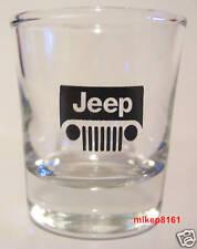 JEEP TRUCKS LOGO ON A CLEAR SHOT GLASS