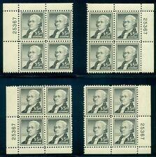 US #1053 $5.00 Hamilton, Matched set of 4 Corner Plate No. Blocks of 4, og, NH,