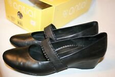 """Antia Black Leather Christina Shoes Size 7.5 N 1.5"""" Heel Women A1041-001"""