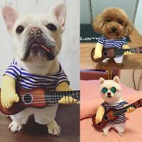 Small Pet Dog Cat Clothes Guitar Player Costume Suit Xmas Halloween Party Dress