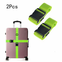 2X Suitcase Strap Baggage Backpack Bag Strap Travel Luggage Packing Belt Green