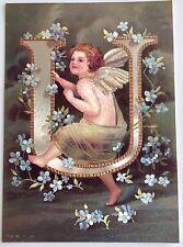 """*Vintage ANGEL ALPHABET LETTER """"U"""" Floral FOIL POSTCARD Clapsaddle FORGET-ME-NOT"""