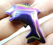 Titanium Hematite Carved shark  Gem pendant beads Jewelry making necklace A12