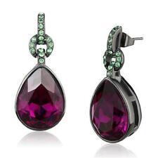 2726 FUSHIA PURPLE PEAR DANGLE DROP SIMULATED DIAMOND EARRINGS STAINLESS  STEEL