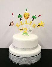 Animali giungla compleanno,battesimo topper per torta,nome personalizzato e età