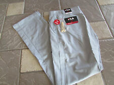 NEW FILA GRAY GOLF PANTS MENS 32X34 FLAT FRONT 100% POLYESTER  FREE SHIP!