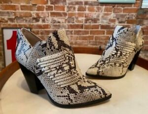 Vince Camuto Snake Perforated Leather Pointed Toe Heeled Booties Levana New
