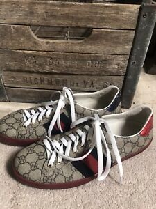$650 GUCCI men's GG supreme Ace sneakers shoes 429445 - 8 G / US 8.5 100% auth!