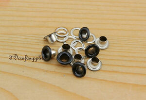 eyelets metal with washer grommets black round 100 sets 4 mm AC72E