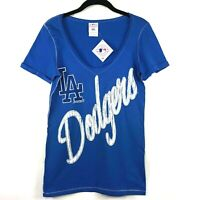 MLB LA Dodgers Womens T-Shirt X-Large Short Sleeve Blue V-Neck 100% Cotton Top
