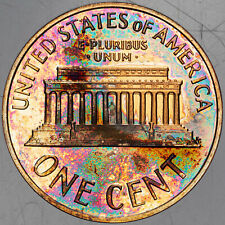 1963-P LINCOLN MEMORIAL CENT MONSTER COLOR TONING SUPERB BU UNC (MR)