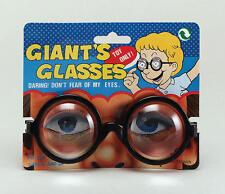 Large Round Black Geek Glasses Nerd School Disco Wizzard Fancy Dress