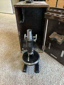 Vtg American Optical Spencer Microscope, Mechanical Stag 318187 w/ Case As Is