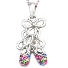 Colorful Dancing Ballerina Dancer Ballet Dance Shoes Pendant Necklace Girl Charm