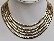 Vintage Signed CORO PEGASUS Gold Plated 4 Row Thick Herringbone Chain Necklace