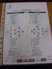 14/03/2012 COLORI teamsheet: Chelsea V NAPOLI CHAMPIONS LEAGUE [] (linea Tattico -