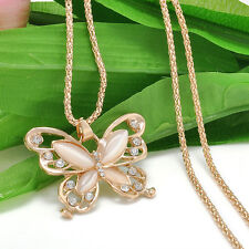 Rose Gold butterfly Pendant Long Chain Sweater Necklace Fashion Women Jewelry