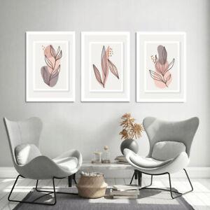 A4 Set of 3 Modern Wall Art Prints Living Room Bedroom Abstract UNFRAME Art Line