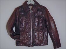 ULTRA RARE VINTAGE 1940s BROWN HORSEHIDE LEATHER MOTORCYCLE RACING BIKER JACKET