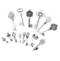 14Pcs Antique Silver Key Charms Pendants for Findings Jewelry Making Crafts