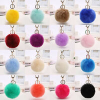 Cute Rabbit Fur Ball PomPom Cell Phone Car Keychain Pendant Bag Charm Key Ring