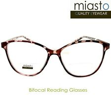 "NWT$39.99 MIASTO ""BIFOCAL"" CAT EYE READER READING GLASSES +1.50 TORTOISE PINK"