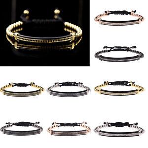 Luxury Men Micro Pave CZ Long Strip Bracelets Charm Women Macrame Bracelets Gift