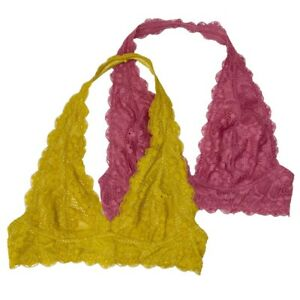 TWO Free People Yellow & Rose Galloon Halter Scalloped Lace Bra Small