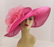 Kentucky Derby, Church, Wedding Silk Flower Sinamay Wide Dress Hat 509 (Fuschia)