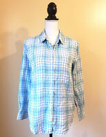 Vineyard Vines Womens Top Long Sleeve Linen Button Down Plaid Shirt Blue Size 4