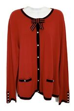 NEW NWT TALBOTS Womens Nautical Cardigan Sweater Pearl Button Up Red Navy XL