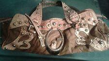 GUESS brown and tan studded handbag