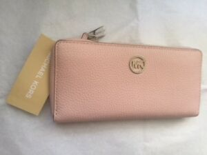 MICHAEL KORS FULTON PEBBLED PINK BLOSSOM LEATHER ZIP CONTINENTAL WALLET / CLUTCH