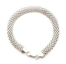 """Sterling Silver Wide Mesh-Like Chain Bracelet 8"""" NWOT"""