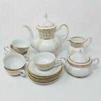 Vintage SEYEI 17 Pc Fine China Demitasse Set 1030 Japan White & Gold Tea Coffee