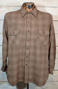 Vintage 70s Pendleton Wool Brown Shadow Plaid Guide Shirt sz L Made in USA