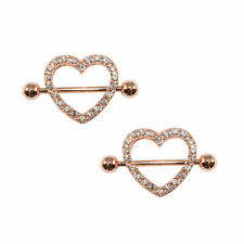 Rose Gold Nipple Ring Heart 14g Pave Pair