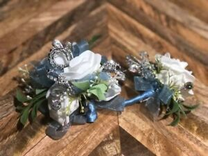 White Light Blue Corsage and boutonniere set Prom Wedding Formal Artificial