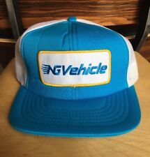 Vintage Mesh Trucker Hat NG Vehicle Blue White Gold Snap Back Made In Canada